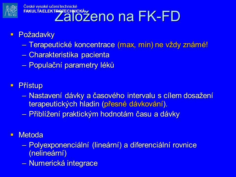 Založeno na FK-FD  Požadavky –Terapeutické koncentrace (max, min) ne vždy známé! –Charakteristika pacienta –Populační parametry léků  Přístup –Nasta