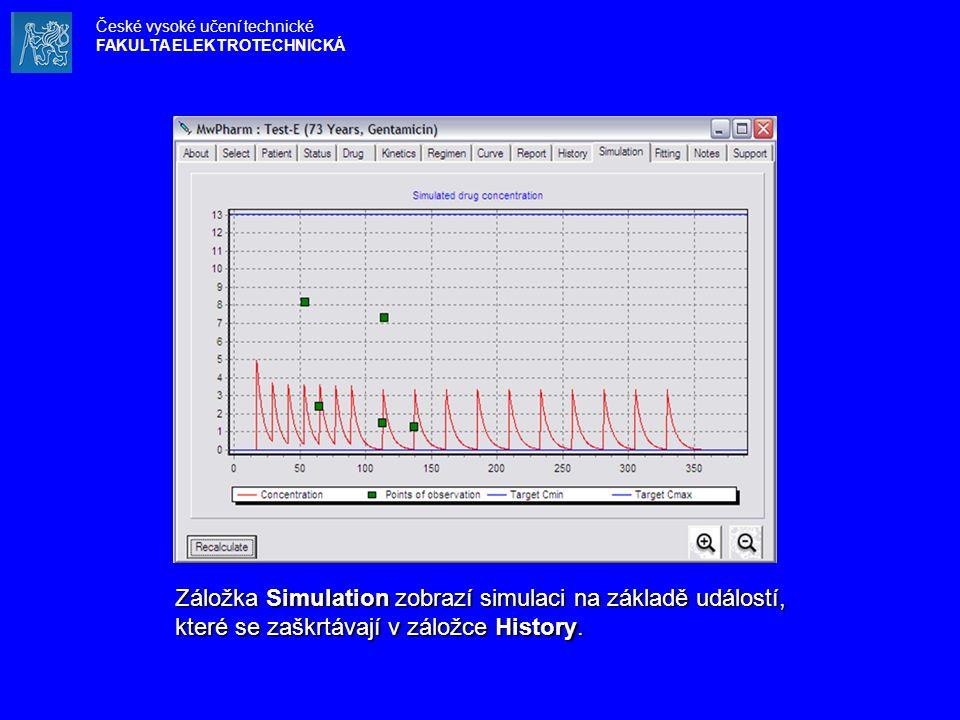 Záložka Simulation zobrazí simulaci na základě událostí, které se zaškrtávají v záložce History. České vysoké učení technické FAKULTA ELEKTROTECHNICKÁ