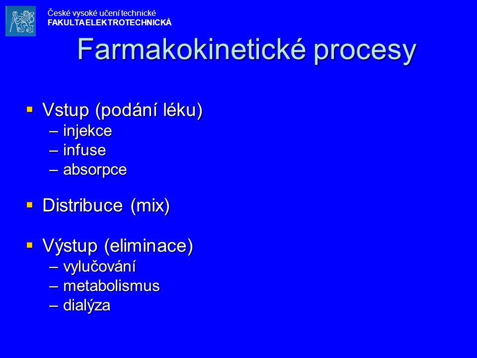 Farmakokinetické procesy Farmakokinetické procesy  Vstup (podání léku) –injekce –infuse –absorpce  Distribuce (mix)  Výstup (eliminace) –vylučování –metabolismus –dialýza České vysoké učení technické FAKULTA ELEKTROTECHNICKÁ