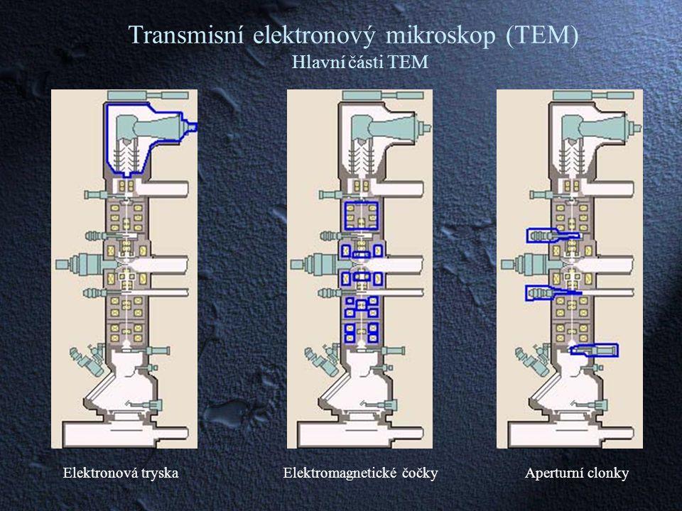 Transmisní elektronový mikroskop (TEM) Hlavní části TEM Elektronová tryskaElektromagnetické čočkyAperturní clonky
