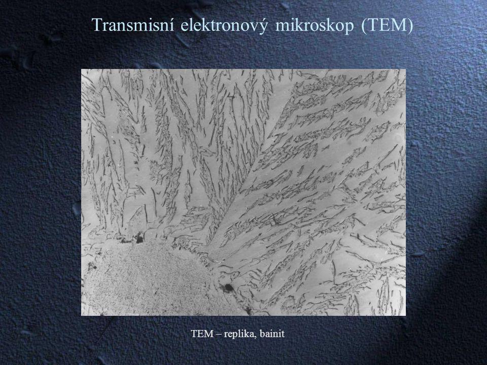 TEM – replika, bainit Transmisní elektronový mikroskop (TEM)