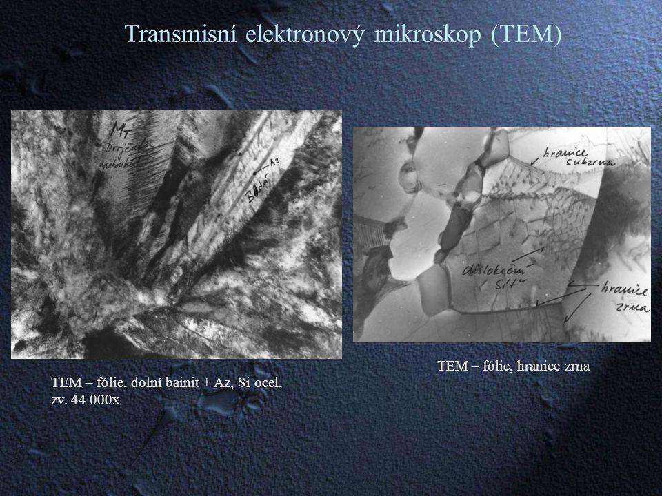 TEM – fólie, dolní bainit + Az, Si ocel, zv.