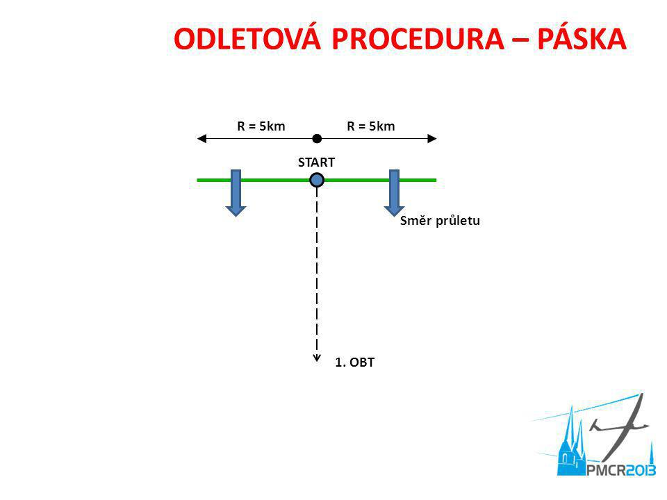 ODLETOVÁ PROCEDURA – PÁSKA START R = 5km 1. OBT Směr průletu