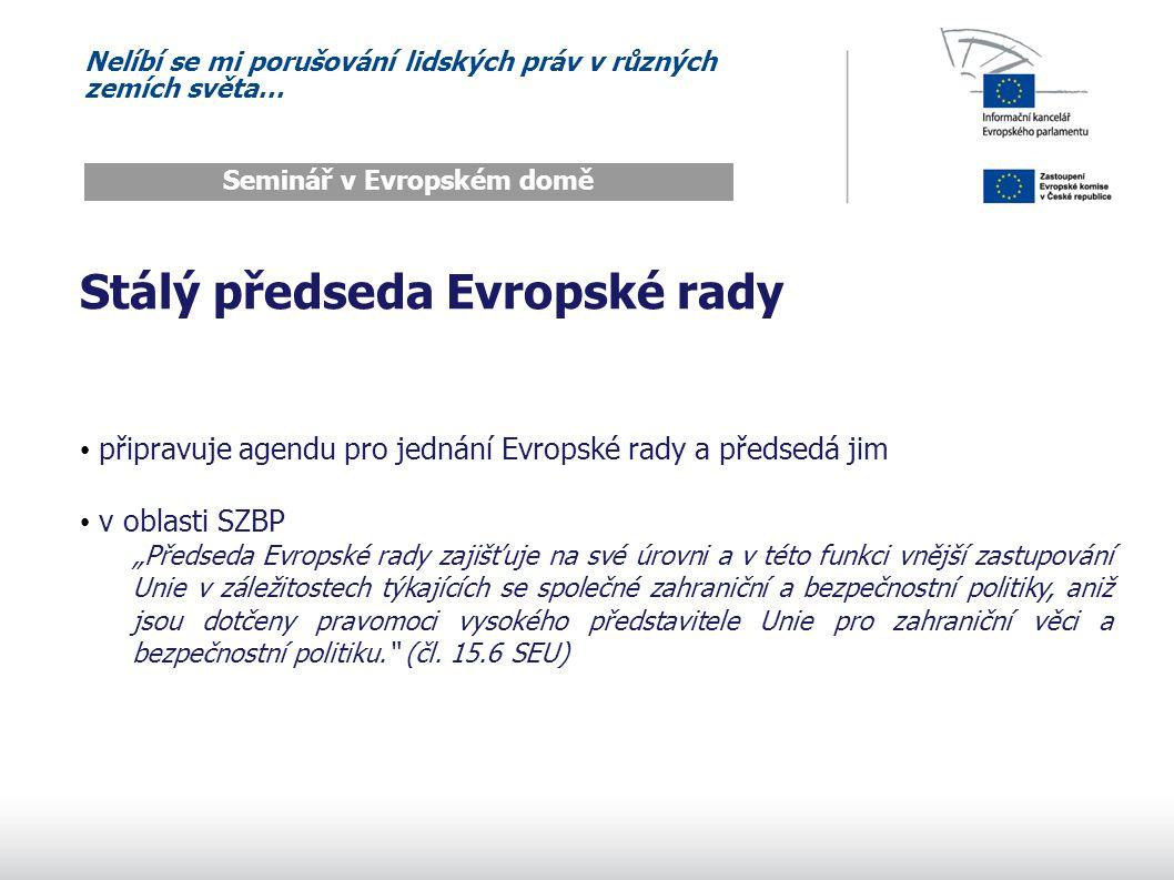 Nelíbí se mi porušování lidských práv v různých zemích světa… Seminář v Evropském domě Vysoká představitelka Unie spojuje v sobě několik dříve oddělených funkcí vysokého představitele pro SZBP předsedu Rady pro vnější vztahy komisaře pro vnější vztahy (je místopředsedkyní Komise) navíc stojí v čele nově vzniklé Evropské služby pro vnější činnost měla by být hlavní tváří Evropské unie pro vztahy s vnějším světem překlenuje institucionální mezeru mezi Radou a Komisí