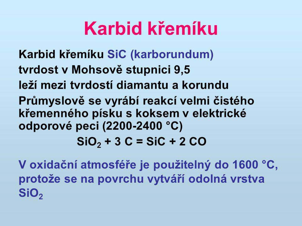 Karbid křemíku Karbid křemíku SiC (karborundum) tvrdost v Mohsově stupnici 9,5 leží mezi tvrdostí diamantu a korundu Průmyslově se vyrábí reakcí velmi čistého křemenného písku s koksem v elektrické odporové peci (2200-2400 °C) SiO 2 + 3 C = SiC + 2 CO V oxidační atmosféře je použitelný do 1600 °C, protože se na povrchu vytváří odolná vrstva SiO 2