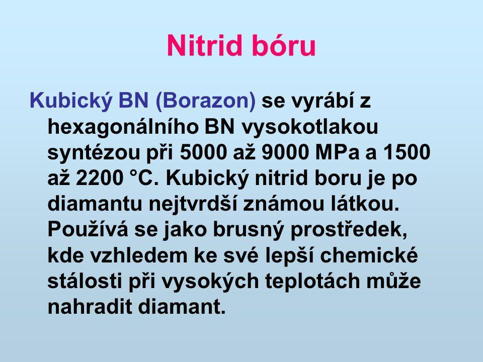 Nitrid bóru Kubický BN (Borazon) se vyrábí z hexagonálního BN vysokotlakou syntézou při 5000 až 9000 MPa a 1500 až 2200 °C.
