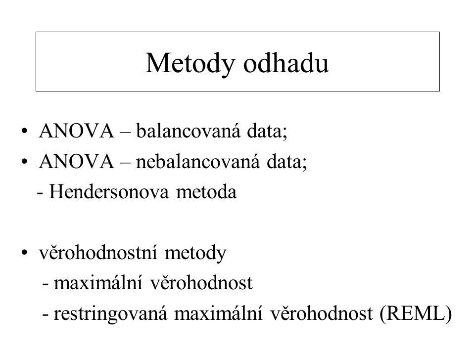 Metody odhadu ANOVA – balancovaná data; ANOVA – nebalancovaná data; - Hendersonova metoda věrohodnostní metody - maximální věrohodnost - restringovaná