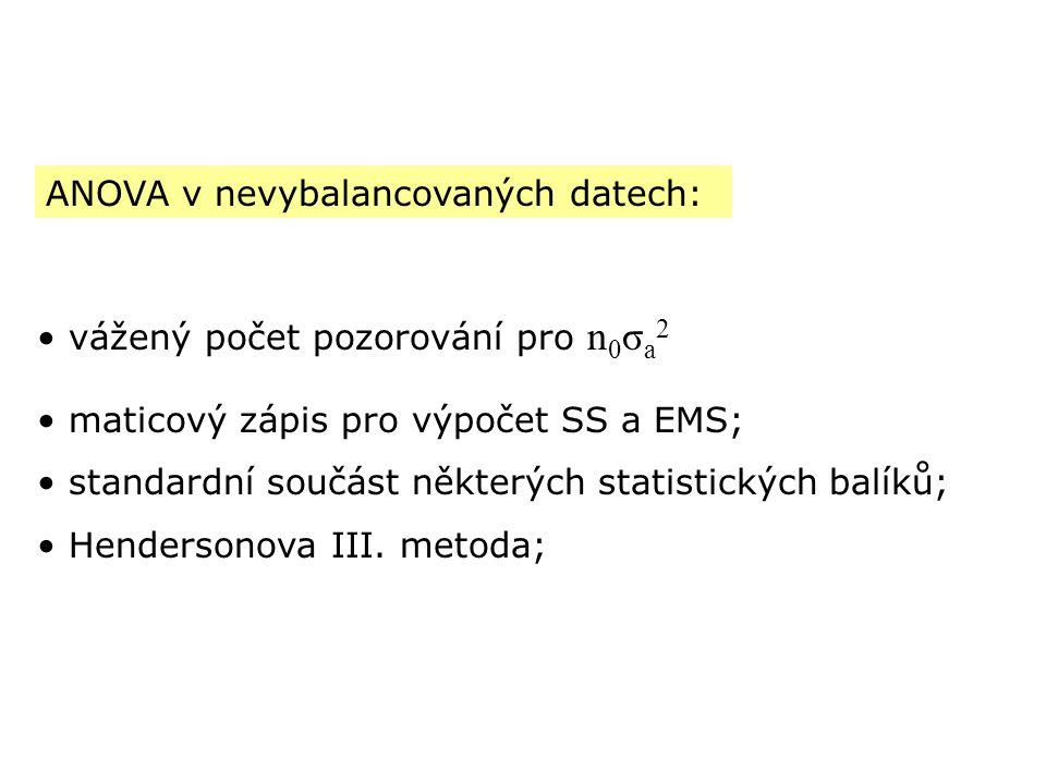 ANOVA v nevybalancovaných datech: vážený počet pozorování pro n 0 σ a 2 maticový zápis pro výpočet SS a EMS; standardní součást některých statistickýc