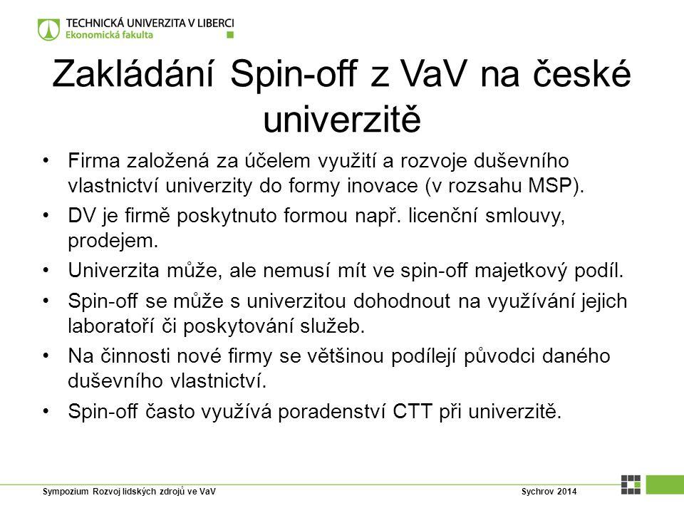 Zakládání Spin-off z VaV na české univerzitě Firma založená za účelem využití a rozvoje duševního vlastnictví univerzity do formy inovace (v rozsahu M