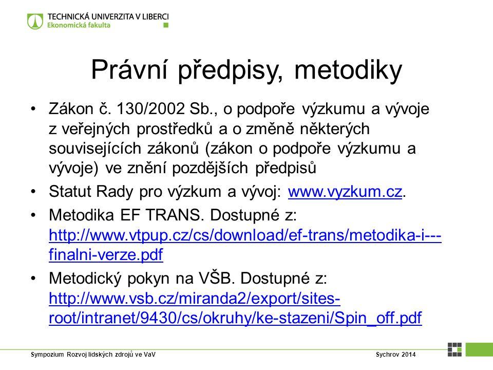 Právní předpisy, metodiky Zákon č. 130/2002 Sb., o podpoře výzkumu a vývoje z veřejných prostředků a o změně některých souvisejících zákonů (zákon o p