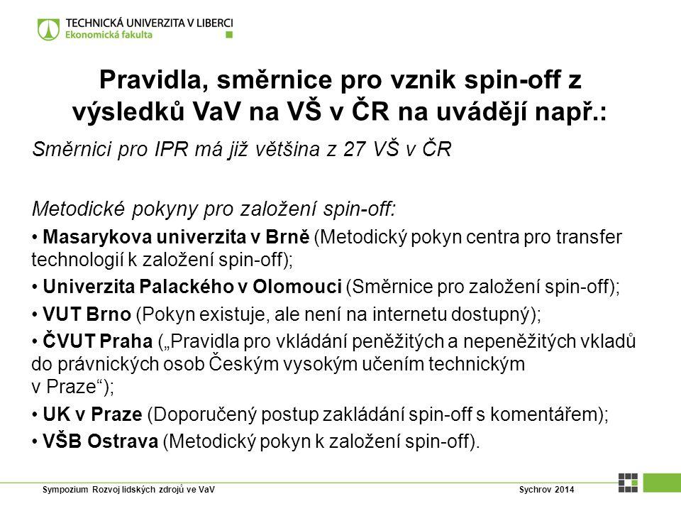 Pravidla, směrnice pro vznik spin-off z výsledků VaV na VŠ v ČR na uvádějí např.: Směrnici pro IPR má již většina z 27 VŠ v ČR Metodické pokyny pro za