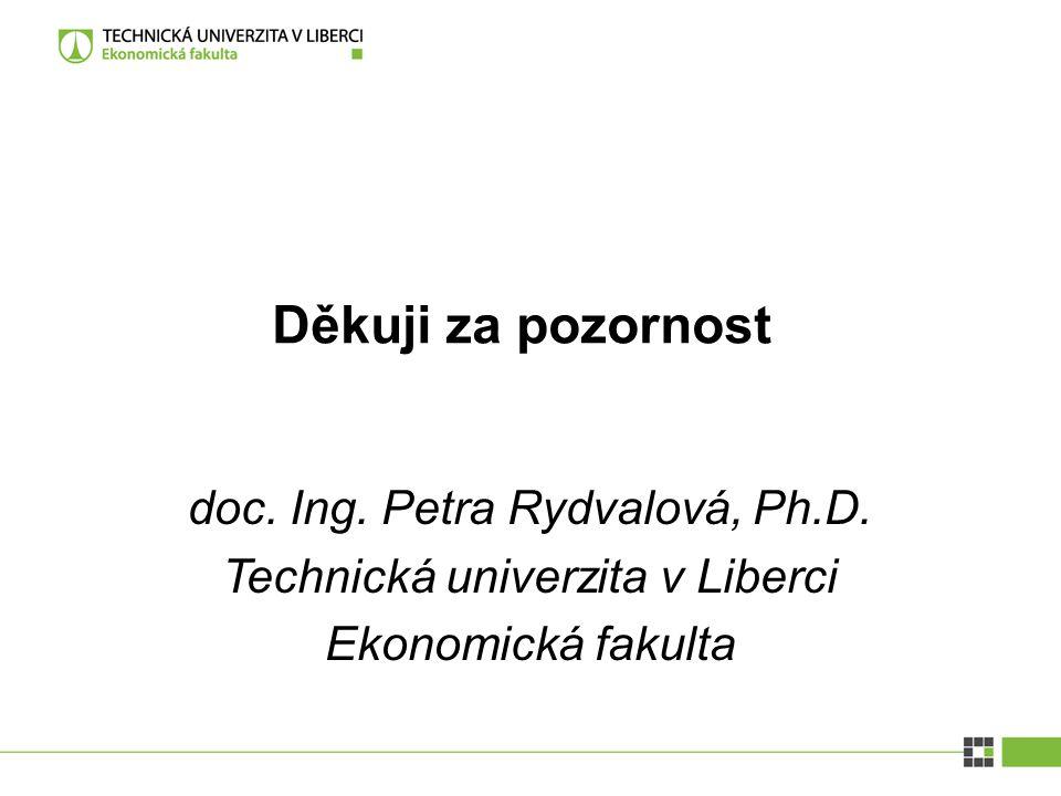 doc. Ing. Petra Rydvalová, Ph.D. Technická univerzita v Liberci Ekonomická fakulta Děkuji za pozornost