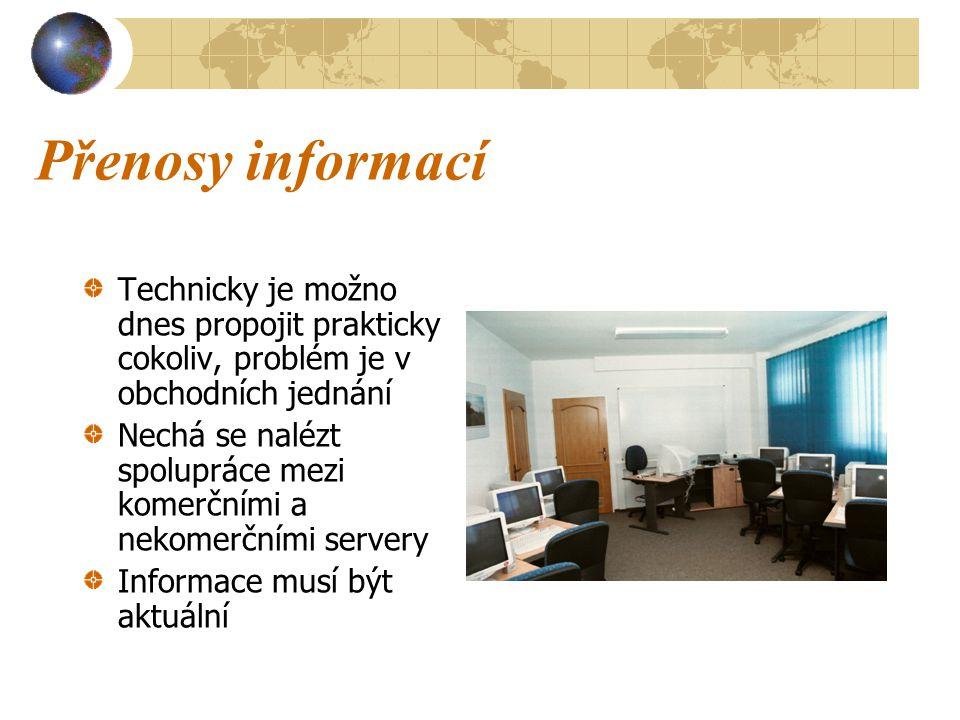 Přenosy informací Technicky je možno dnes propojit prakticky cokoliv, problém je v obchodních jednání Nechá se nalézt spolupráce mezi komerčními a nekomerčními servery Informace musí být aktuální