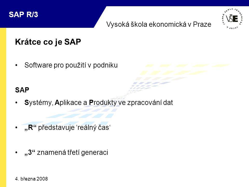 Vysoká škola ekonomická v Praze SAP R/3 4. března 2008 Krátce co je SAP Software pro použití v podniku SAP Systémy, Aplikace a Produkty ve zpracování