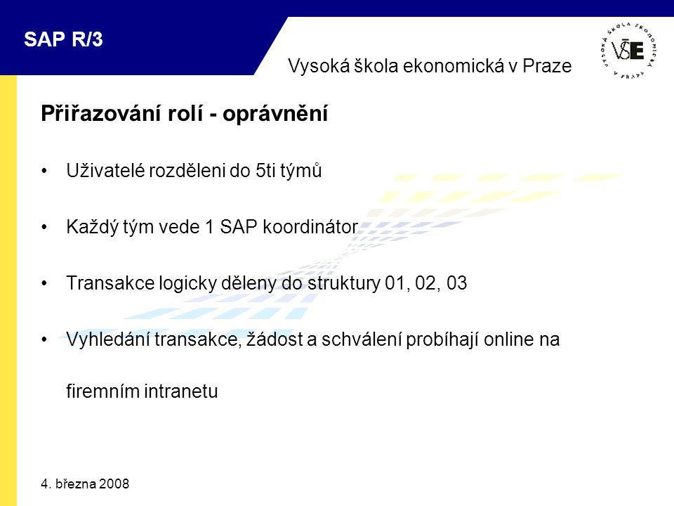 Vysoká škola ekonomická v Praze SAP R/3 4. března 2008 Přiřazování rolí - oprávnění Uživatelé rozděleni do 5ti týmů Každý tým vede 1 SAP koordinátor T