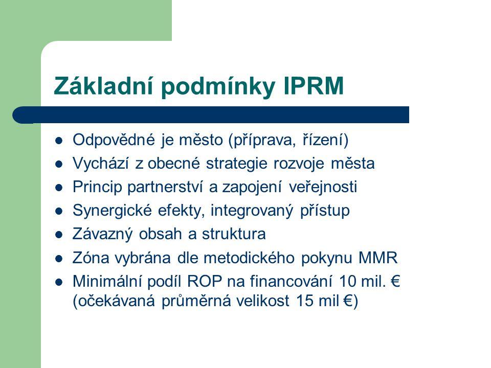 Základní podmínky IPRM Odpovědné je město (příprava, řízení) Vychází z obecné strategie rozvoje města Princip partnerství a zapojení veřejnosti Synerg