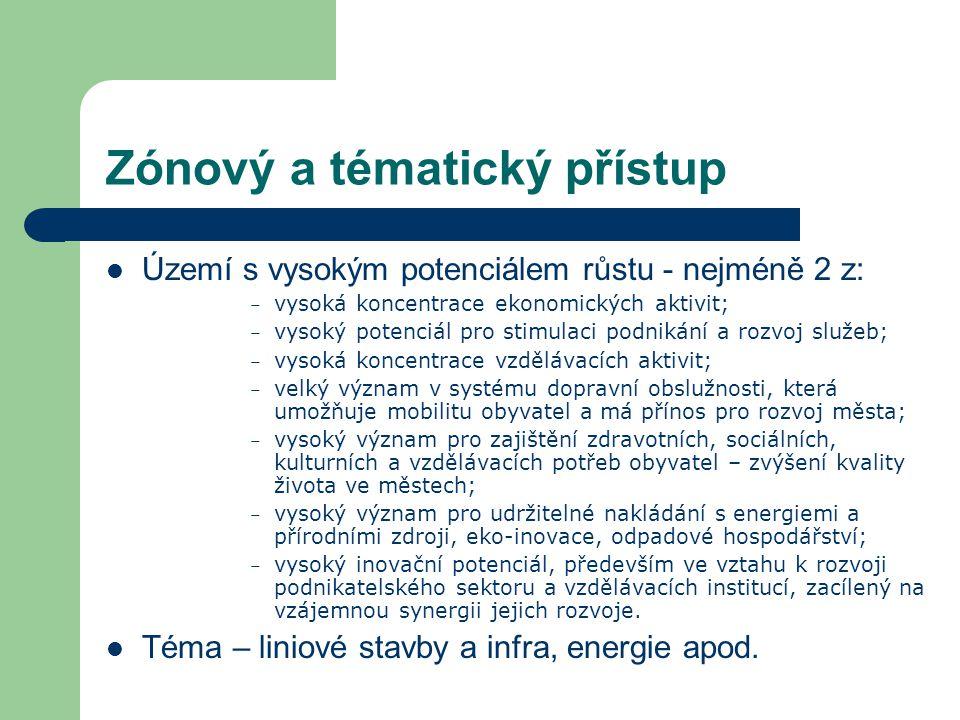 Zónový a tématický přístup Území s vysokým potenciálem růstu - nejméně 2 z: – vysoká koncentrace ekonomických aktivit; – vysoký potenciál pro stimulac
