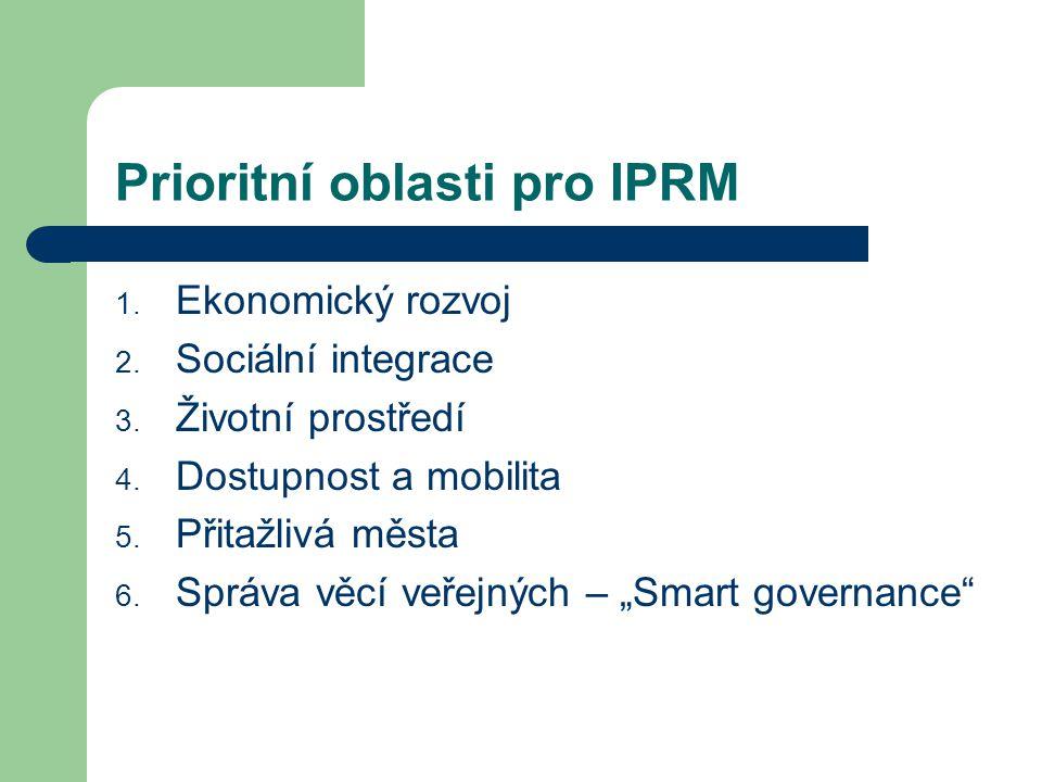 Prioritní oblasti pro IPRM 1. Ekonomický rozvoj 2. Sociální integrace 3. Životní prostředí 4. Dostupnost a mobilita 5. Přitažlivá města 6. Správa věcí