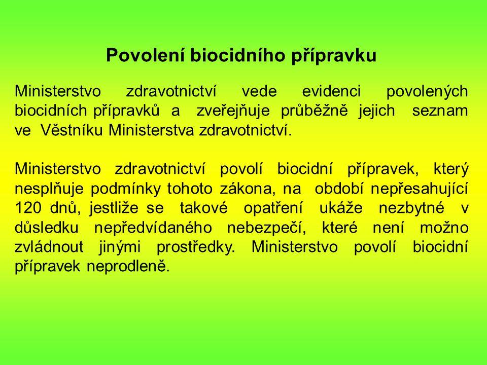 Povolení biocidního přípravku Ministerstvo zdravotnictví vede evidenci povolených biocidních přípravků a zveřejňuje průběžně jejich seznam ve Věstníku Ministerstva zdravotnictví.
