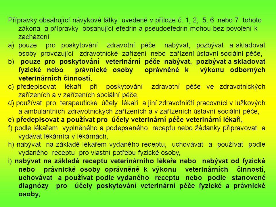Přípravky obsahující návykové látky uvedené v příloze č.