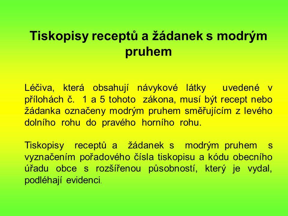 Tiskopisy receptů a žádanek s modrým pruhem Léčiva, která obsahují návykové látky uvedené v přílohách č.