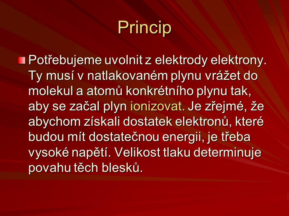 Princip Potřebujeme uvolnit z elektrody elektrony. Ty musí v natlakovaném plynu vrážet do molekul a atomů konkrétního plynu tak, aby se začal plyn ion