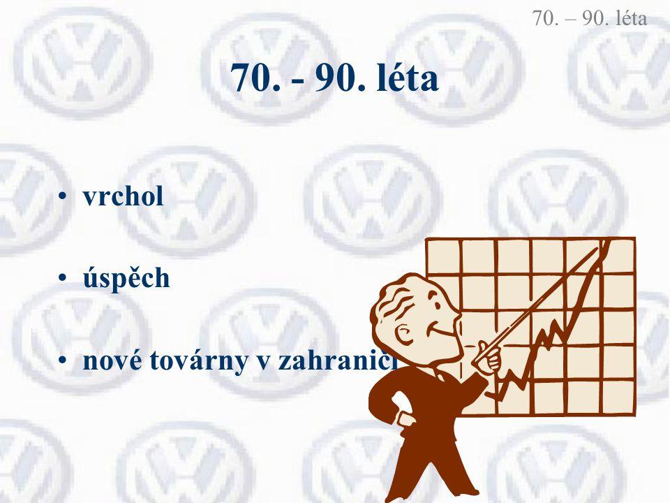 70. - 90. léta vrchol úspěch nové továrny v zahraničí 70. – 90. léta
