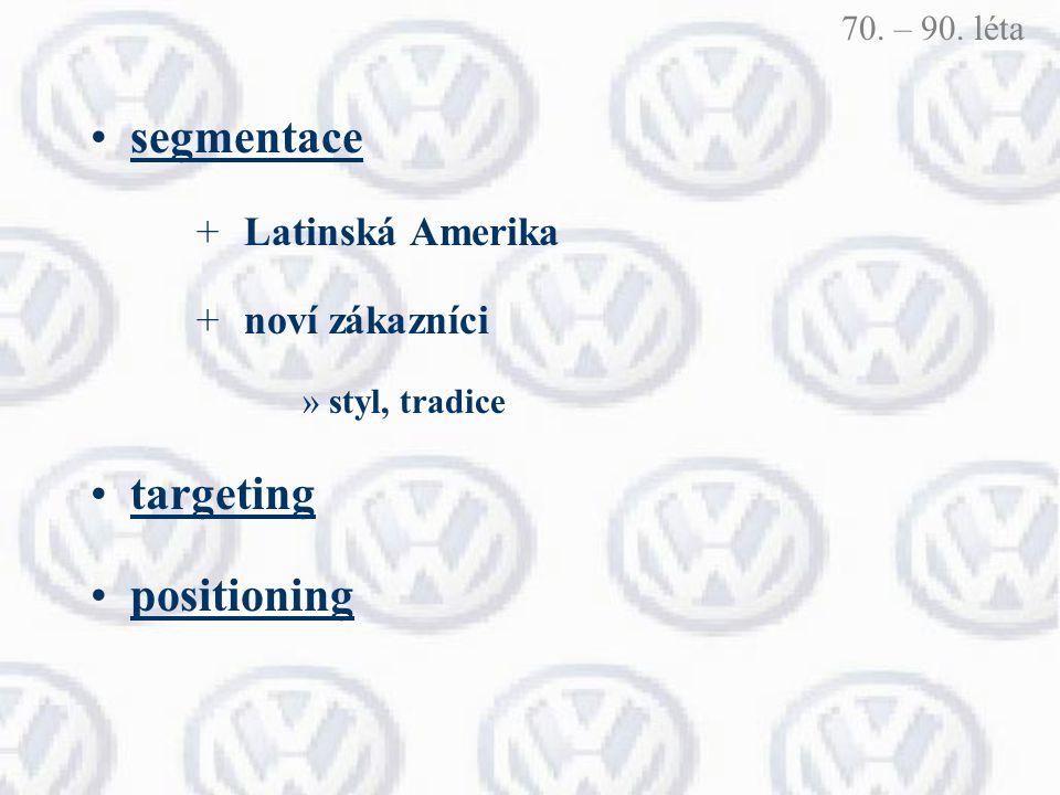 segmentace + Latinská Amerika + noví zákazníci »styl, tradice targeting positioning 70. – 90. léta