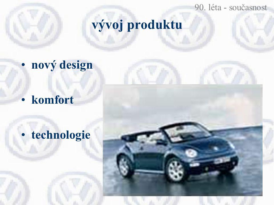 vývoj produktu nový design komfort technologie 90. léta - současnost