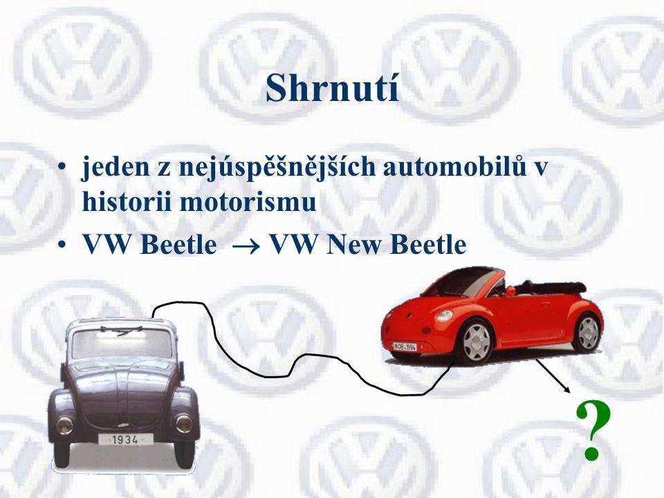 Shrnutí jeden z nejúspěšnějších automobilů v historii motorismu VW Beetle  VW New Beetle ?