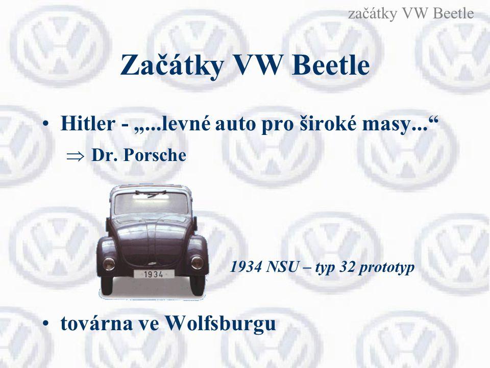 """Začátky VW Beetle Hitler - """"...levné auto pro široké masy...""""  Dr. Porsche továrna ve Wolfsburgu 1934 NSU – typ 32 prototyp začátky VW Beetle"""
