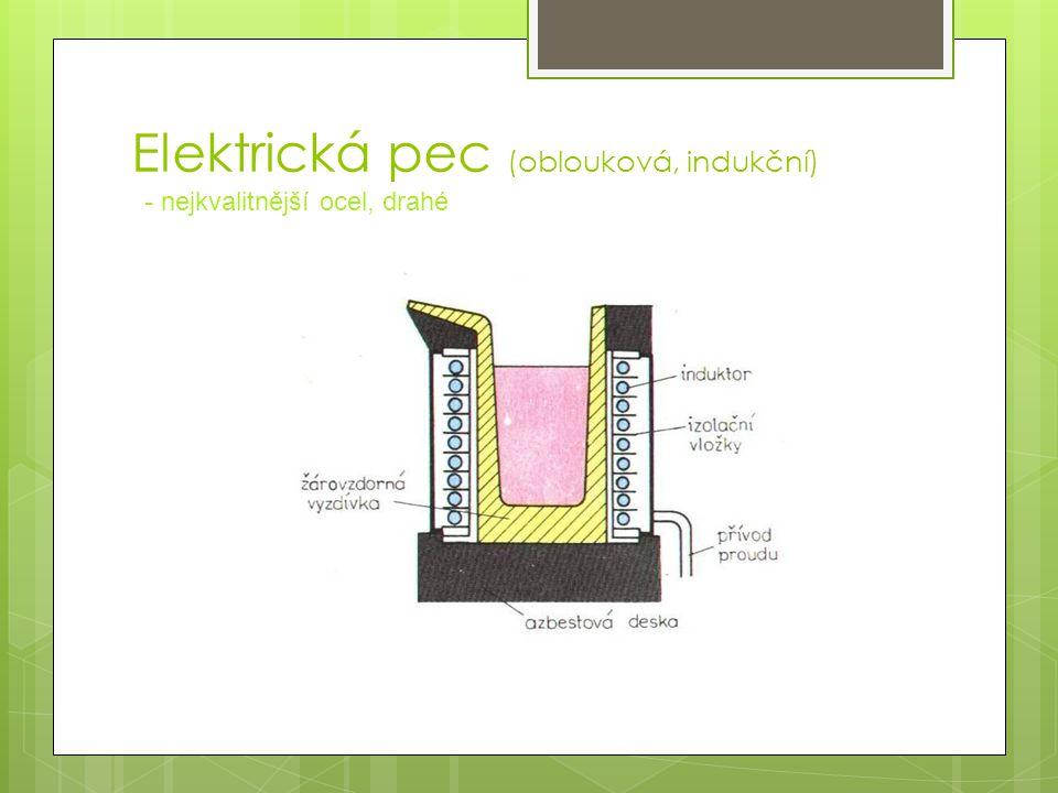 Elektrická pec (oblouková, indukční) - nejkvalitnější ocel, drahé