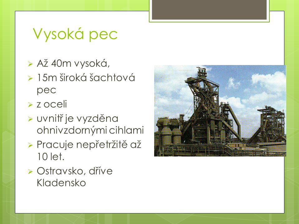 Vysoká pec 200 °C 400 °C 900 °C 1400 °C 1600 °C kychta šachta nístěj ruda, koks, struskotvorné přísady Rozpora 2000 °C Zarážka
