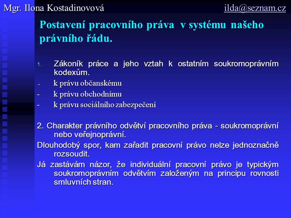 Postavení pracovního práva v systému našeho právního řádu. 1. Zákoník práce a jeho vztah k ostatním soukromoprávním kodexům. - k právu občanskému - k