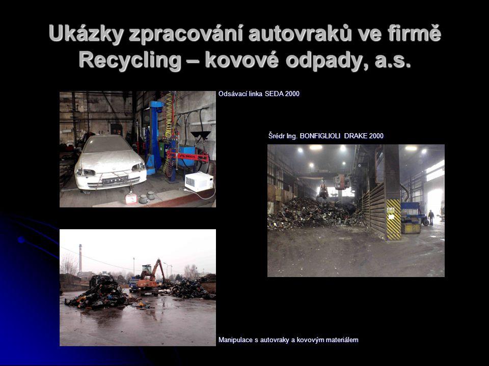 Ukázky zpracování autovraků ve firmě Recycling – kovové odpady, a.s.
