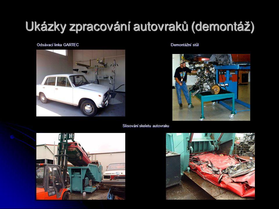 Ukázky zpracování autovraků (demontáž) Slisování skeletu autovraku Demontážní stůl Odsávací linka GARTEC