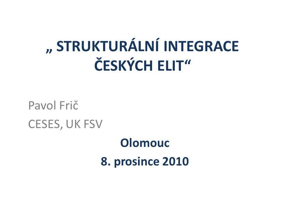 """"""" STRUKTURÁLNÍ INTEGRACE ČESKÝCH ELIT Pavol Frič CESES, UK FSV Olomouc 8. prosince 2010"""