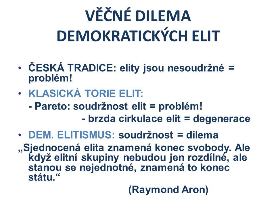 """ŘEŠENÍ VĚČNÉHO DILEMATU DEMOKRATICKÝCH ELIT Aby se demokratické elity v budoucnu vyhnuly """"degeneraci ve skrytou oligarchii či anarchii, musí zvolit adekvátní model soudržnosti."""