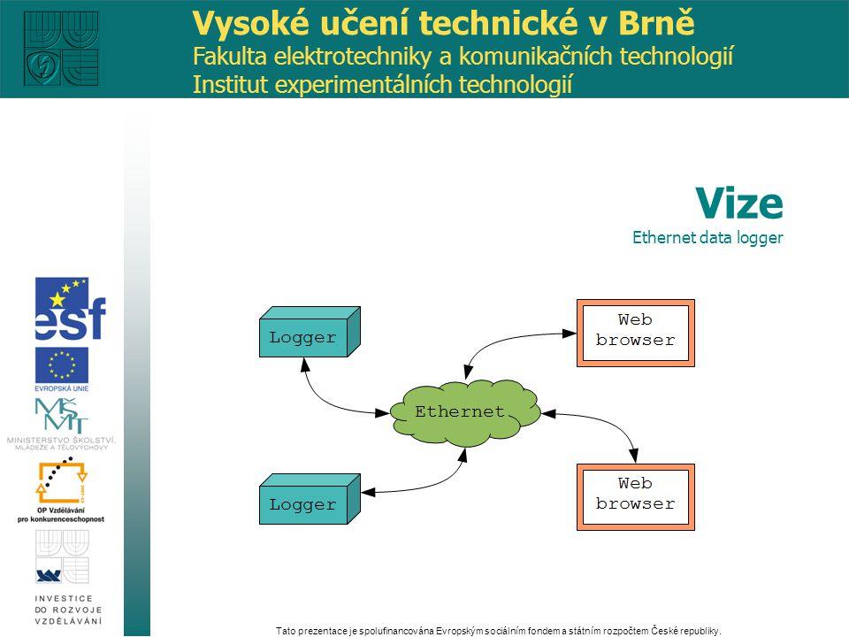 modulární systém záznamu a prezentace dat konektivita pomocí sítě ethernet výstup ve webovém prohlížeči levné provedení Tato prezentace je spolufinancována Evropským sociálním fondem a státním rozpočtem České republiky.