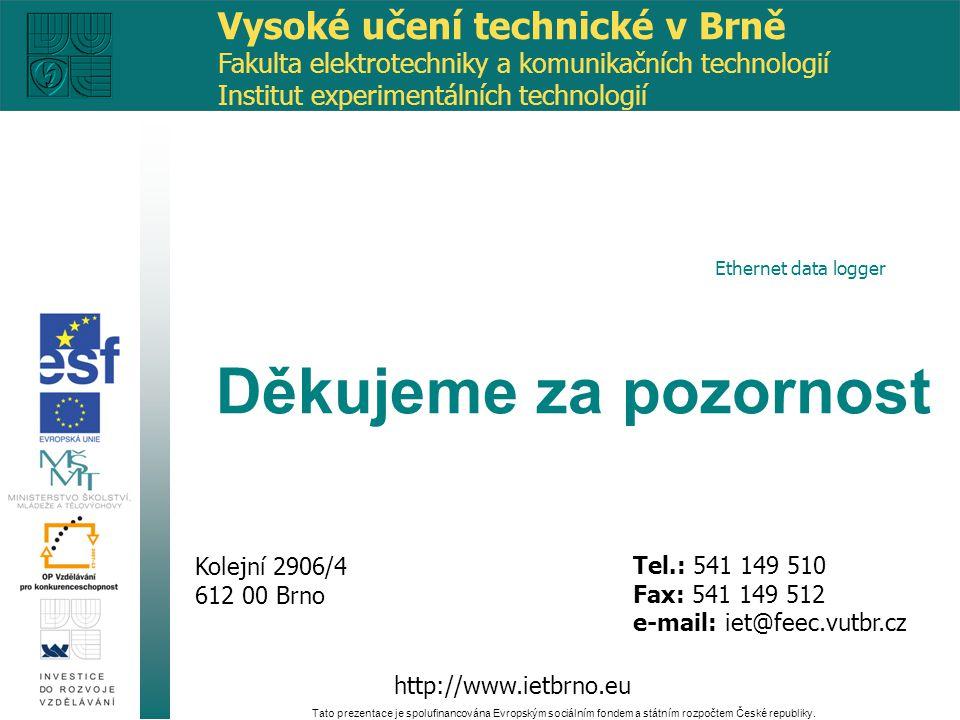 http://www.ietbrno.eu Kolejní 2906/4 612 00 Brno Tel.: 541 149 510 Fax: 541 149 512 e-mail: iet@feec.vutbr.cz Tato prezentace je spolufinancována Evro