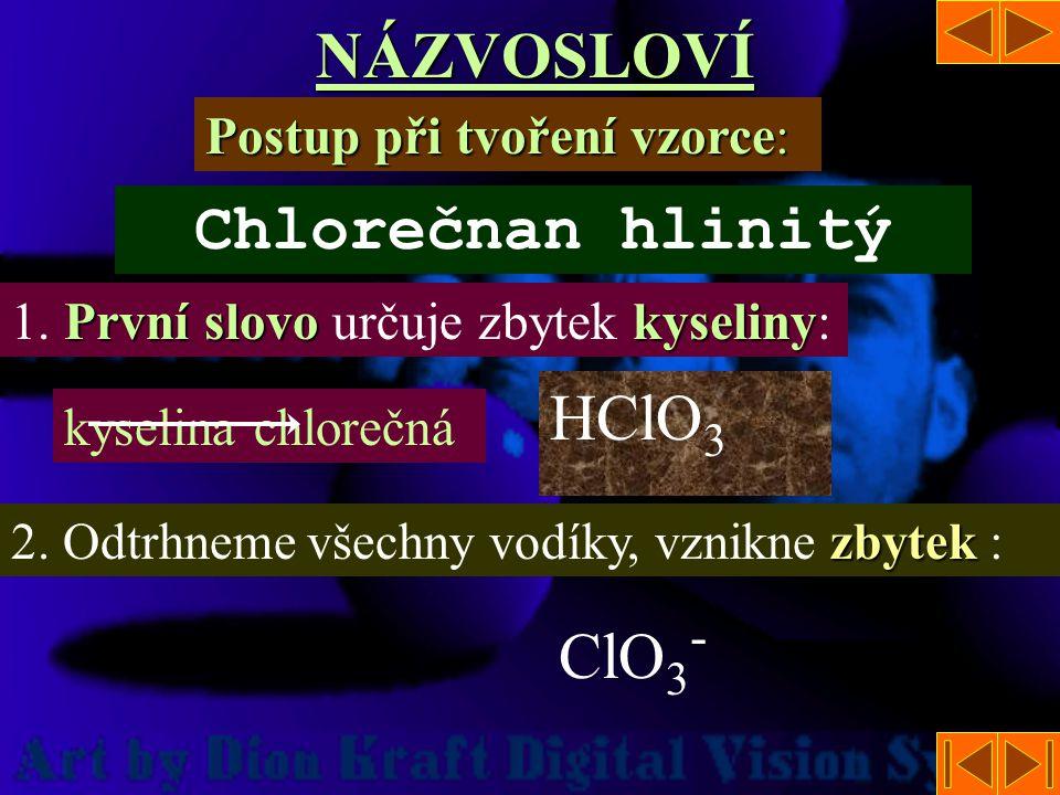 NÁZVOSLOVÍ Přípony Přípony pro jednotlivá kladná oxidační čísla: I.- nan II.-natan III.-itan IV.-ičitan V.- ičnan, V.- ičnan, -ečnan VI.-an VII.-istan