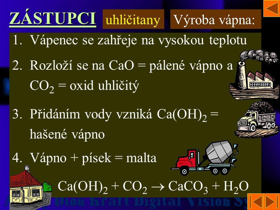 4.Uhličitan vápenatý – CaCO 3 -potaš -při výrobě skla 3.Uhličitan draselný – K 2 CO 3ZÁSTUPCI uhličitany -Vápenec -K výrobě páleného a hašeného vápna