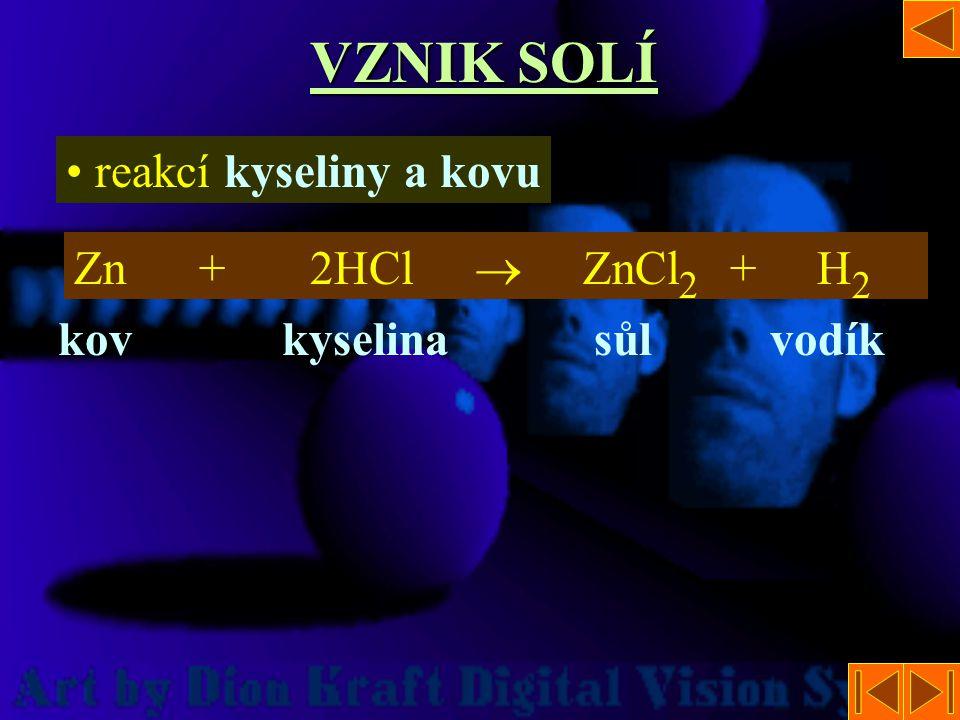 VZNIK SOLÍ reakcí kyseliny a kovu Zn + 2HCl  ZnCl 2 + H2H2 kovkyselinasůlvodík