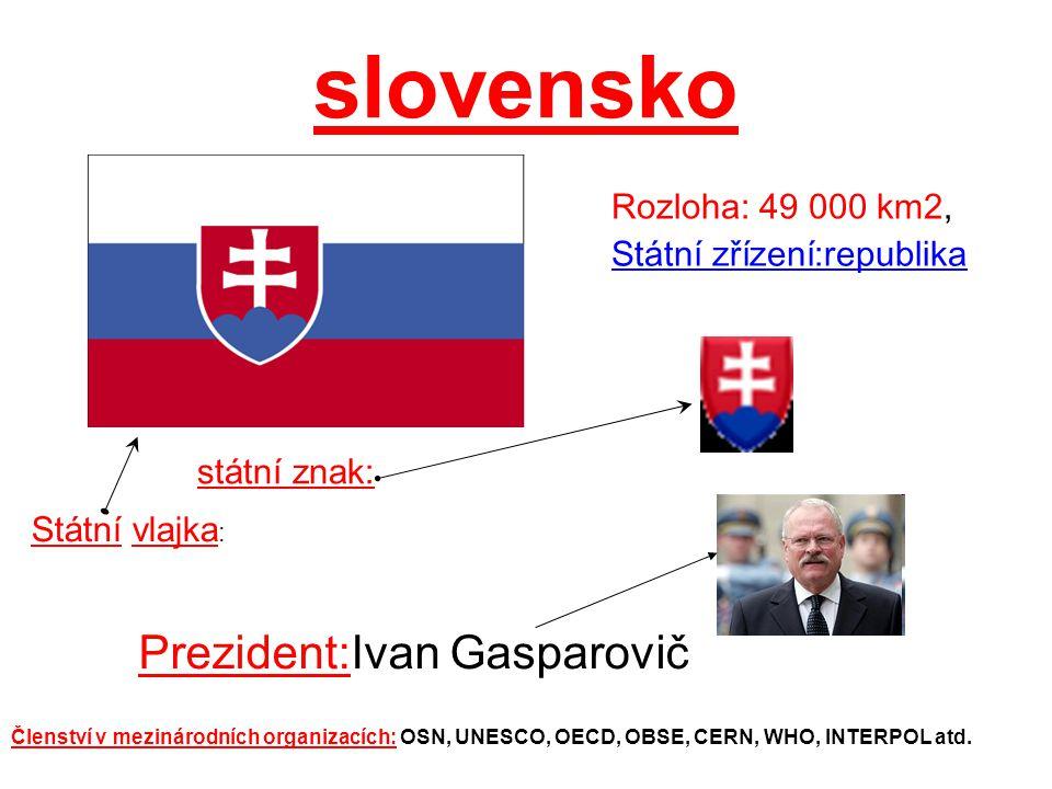 slovensko Prezident:Ivan Gasparovič Rozloha: 49 000 km2, Státní zřízení:republika státní znak: Státní vlajka : Členství v mezinárodních organizacích: