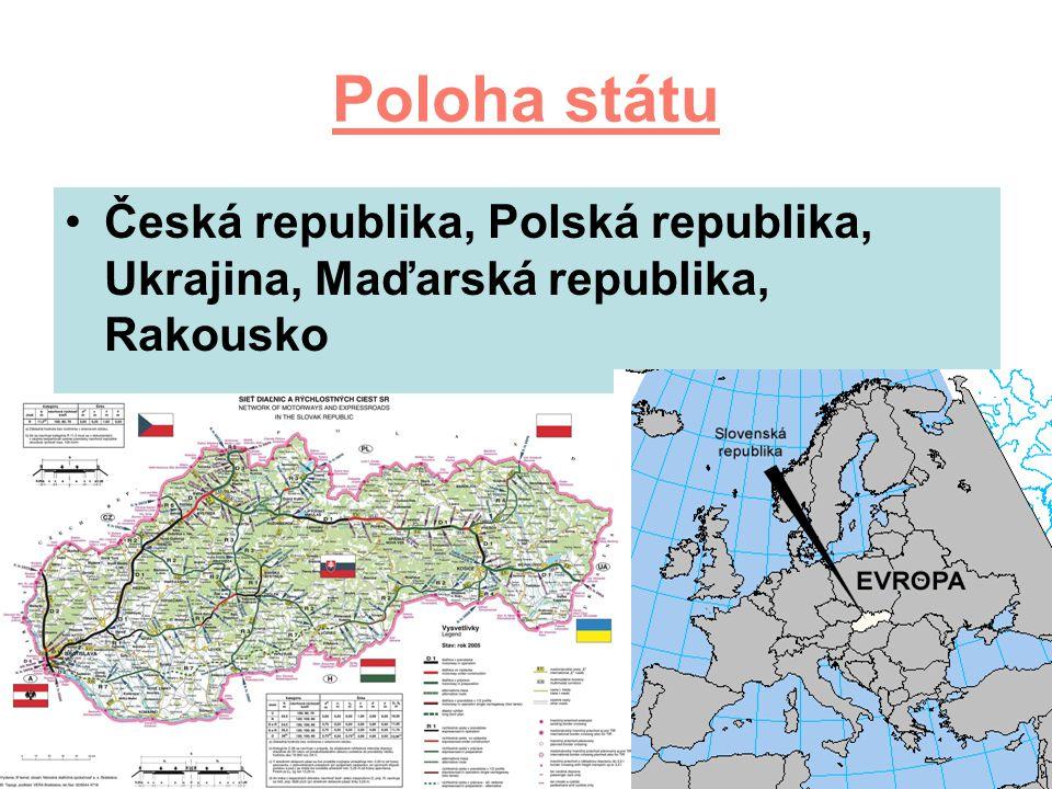 Poloha státu Česká republika, Polská republika, Ukrajina, Maďarská republika, Rakousko