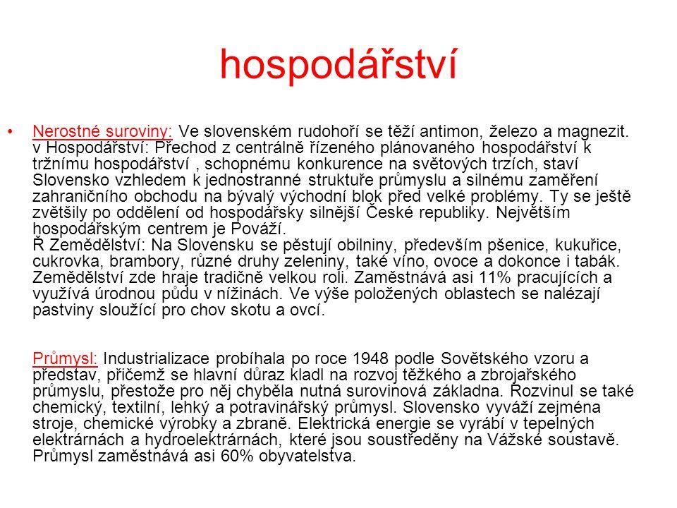 hospodářství Nerostné suroviny: Ve slovenském rudohoří se těží antimon, železo a magnezit. v Hospodářství: Přechod z centrálně řízeného plánovaného ho
