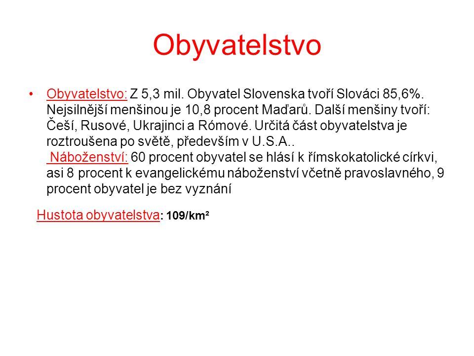 Obyvatelstvo Obyvatelstvo: Z 5,3 mil. Obyvatel Slovenska tvoří Slováci 85,6%. Nejsilnější menšinou je 10,8 procent Maďarů. Další menšiny tvoří: Češí,