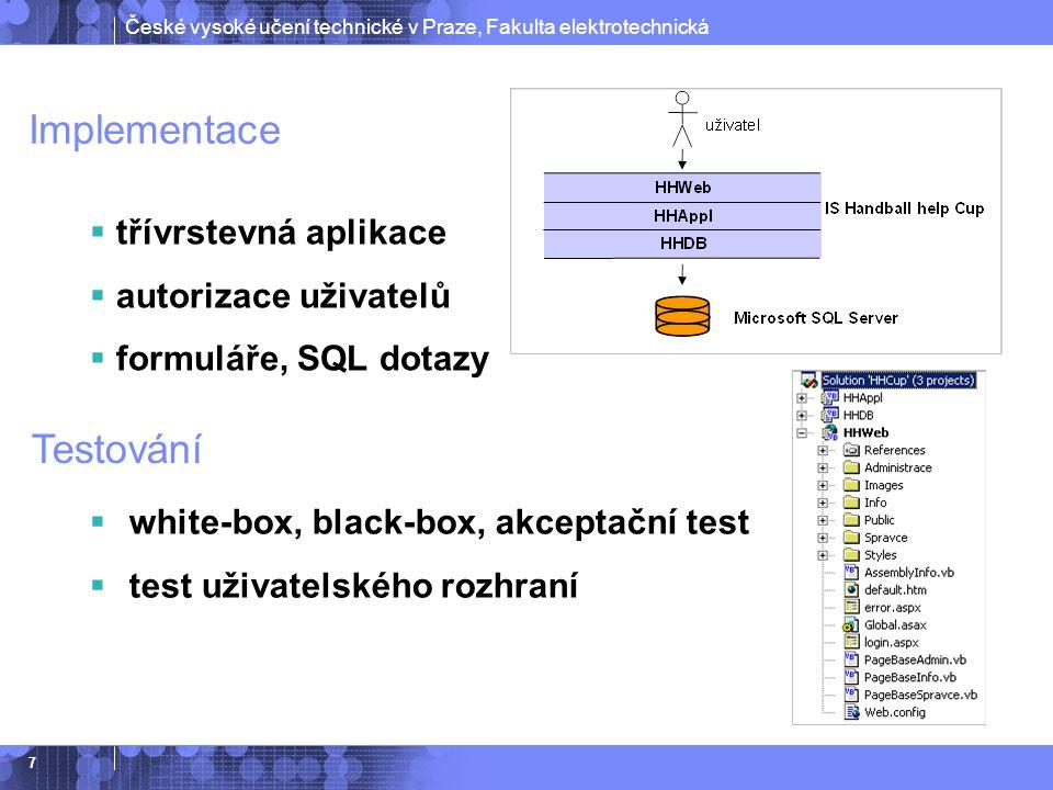 České vysoké učení technické v Praze, Fakulta elektrotechnická 7 Implementace  třívrstevná aplikace  autorizace uživatelů  formuláře, SQL dotazy Testování  white-box, black-box, akceptační test  test uživatelského rozhraní