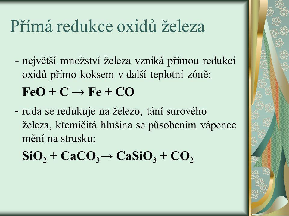 Nístěj - odpichy -dolní část pece - teplota – 2000°C -hromadění roztaveného železa a strusky, odděleně se vypouštějí dvěma odpichy, -nad odpichem je vstup pro předehřátý vzduch, který v peci reaguje s koksem: C + O 2 → CO 2 teplotní zóna 2000°C CO 2 + C→ 2CO – teplotní zóna 900°C, kde je CO redukční činidlo.