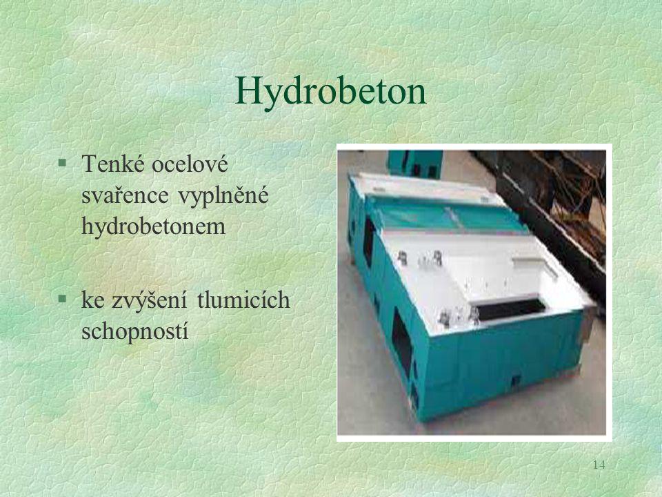 14 Hydrobeton §Tenké ocelové svařence vyplněné hydrobetonem §ke zvýšení tlumicích schopností